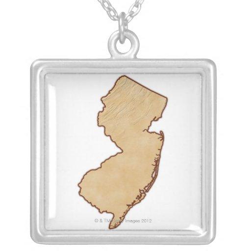 Mapa de alivio de New Jersey Colgante Cuadrado