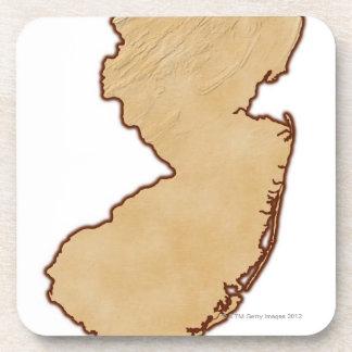 Mapa de alivio de New Jersey Posavasos