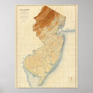 Mapa de alivio de New Jersey Póster