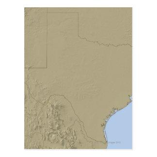 Mapa de alivio de Tejas 2 Postales