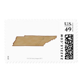 Mapa de alivio de Tennessee Timbre Postal