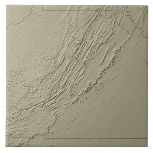 Mapa de alivio de Virginia 2 Teja Ceramica