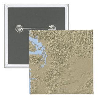 Mapa de alivio de Washington Pin Cuadrada 5 Cm