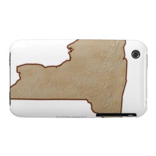 Mapa de alivio del Estado de Nuevo York Case-Mate iPhone 3 Coberturas