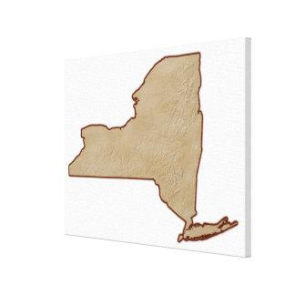 Mapa de alivio del Estado de Nuevo York Impresión De Lienzo