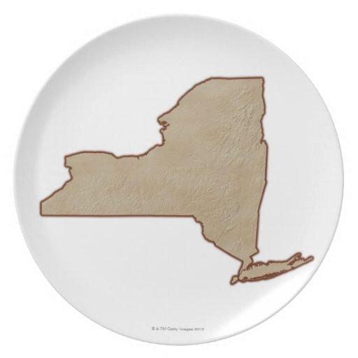 Mapa de alivio del Estado de Nuevo York Plato De Cena