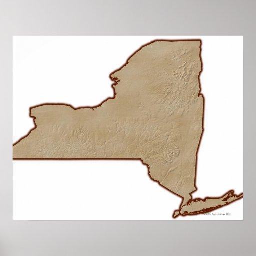 Mapa de alivio del Estado de Nuevo York Posters