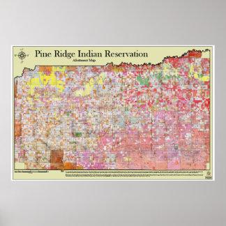 Mapa de Allottment de la reserva india de Ridge de Impresiones