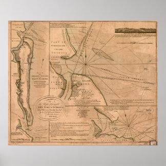 Mapa de Amelia Island, la Florida 1770 Póster