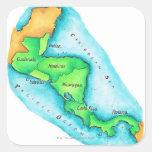 Mapa de America Central Calcomanías Cuadradass Personalizadas