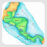 Mapa de America Central Pegatina Cuadrada