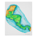 Mapa de America Central Póster