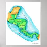 Mapa de America Central Posters