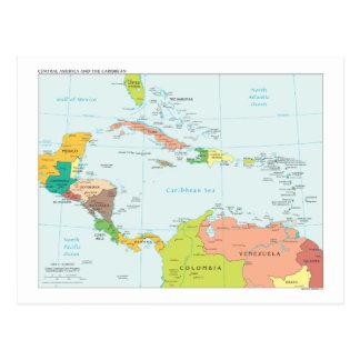 Mapa de America Central y del Caribe Postales