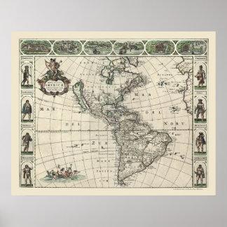 Mapa de América de Frederick de Wit 1660 Póster