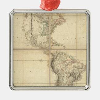 Mapa de América por un Arrowsmith Adorno Navideño Cuadrado De Metal