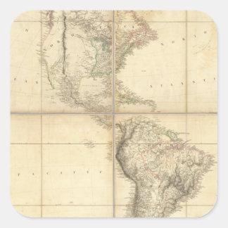 Mapa de América por un Arrowsmith Pegatina Cuadrada