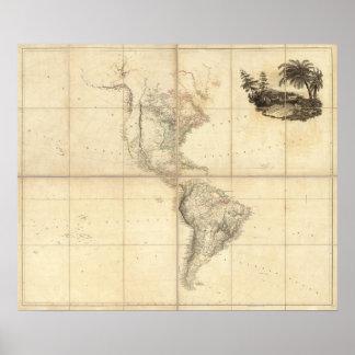 Mapa de América por un Arrowsmith Póster