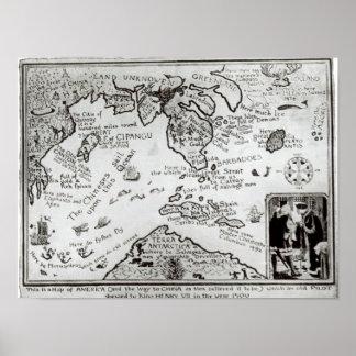 Mapa de América y de las direcciones a China Poster