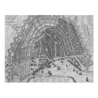 Mapa de Amsterdam 1662 Tarjeta Postal