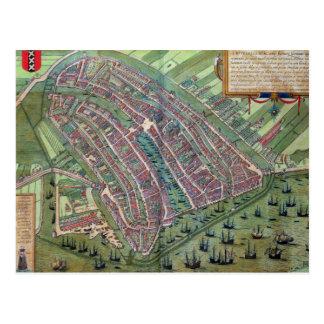 Mapa de Amsterdam, de 'Civitates Orbis Terrarum Postales