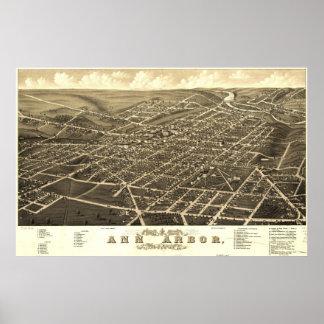 Mapa de Ann Arbor Birdseye Póster