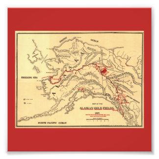 Mapa de antaño de las minas de oro de Alaska Fotografias