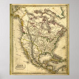 Mapa de Antquie de Norteamérica Póster