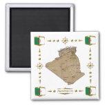 Mapa de Argelia + Imán de las banderas