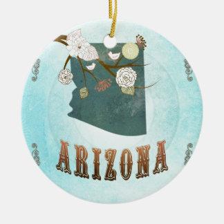 Mapa de Arizona con los pájaros preciosos Ornamento Para Arbol De Navidad