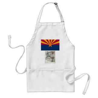 Mapa de Arizona y bandera del estado Delantal