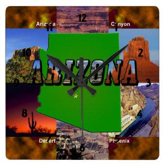 Mapa de Arizona y texto de la imagen Relojes