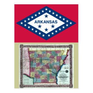 Mapa de Arkansas y bandera del estado Tarjeta Postal