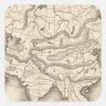 Mapa de Asia 2 Pegatina Cuadrada
