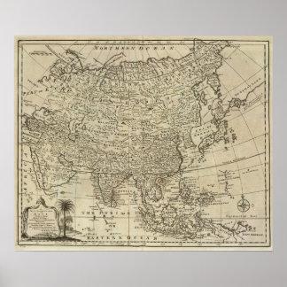 Mapa de Asia 2 Póster