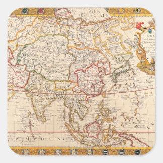 Mapa de Asia 5 Pegatina Cuadrada