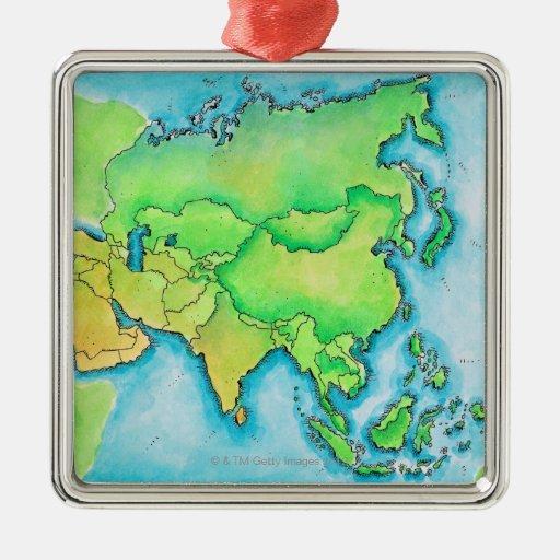 Mapa de Asia Adorno Cuadrado Plateado