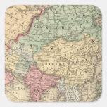 Mapa de Asia de Mitchell Pegatina Cuadrada
