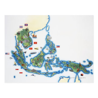 Mapa de Asia del sudeste Postales