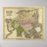 Mapa de Asia Olney Póster