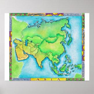 Mapa de Asia Poster