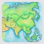 Mapa de Asia Pegatina Cuadrada