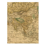 Mapa de Asia por Worcester Tarjeta Postal