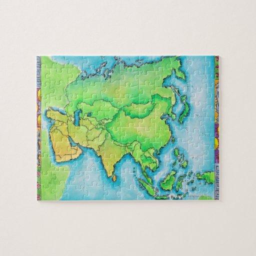 Mapa de Asia Rompecabezas Con Fotos