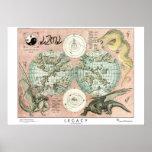 Mapa de Atanoah, estilo arcaico Poster