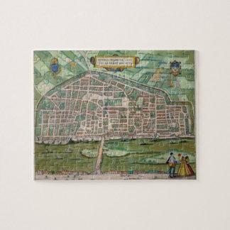 """Mapa de Aurelia, de """"Civitates Orbis Terrarum"""" cer Puzzles"""