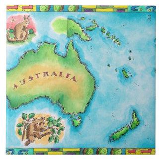 Mapa de Australia 2 Azulejo Cuadrado Grande