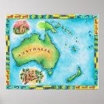 Mapa de Australia 2 Poster