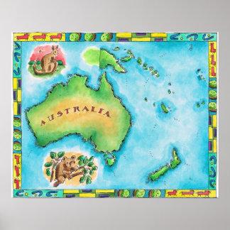 Mapa de Australia 2 Póster