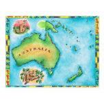 Mapa de Australia 2 Tarjetas Postales